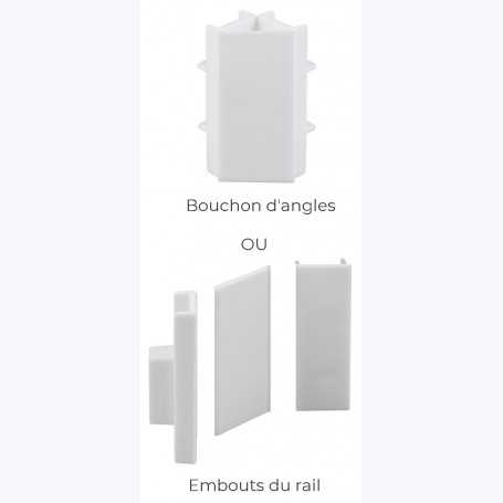 Jeux de 2 bouchons OU 1 raccord d'angle (CliprailMAX)